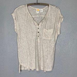 C & C California 100% linen popover light blouse